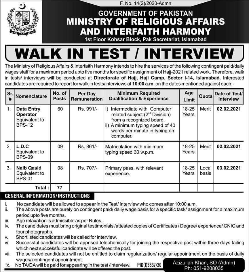 Latest Govt Jobs Ministry of Religious Affairs 2021