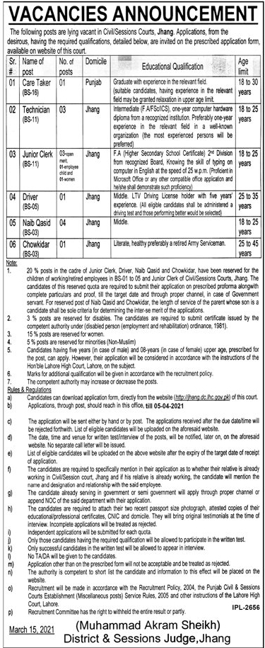 District Session Courts Jobs 2021 Jhang Jobs