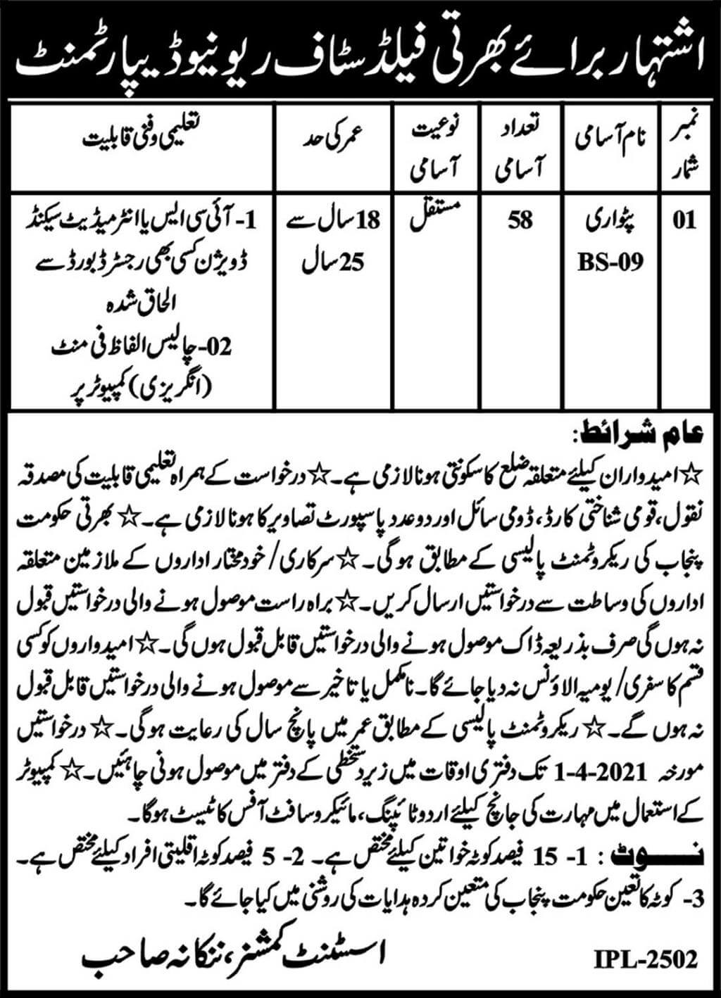 Revenue Department Jobs 2021