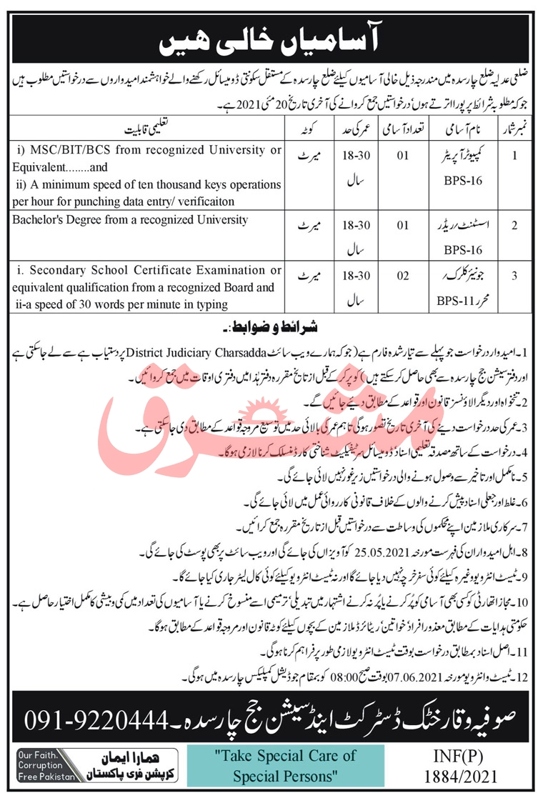 District and Session Court Charsadda Jobs 2021 Advertisement