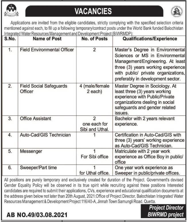 World Bank Funded Project Jobs 2021 Balochistan Advertisement
