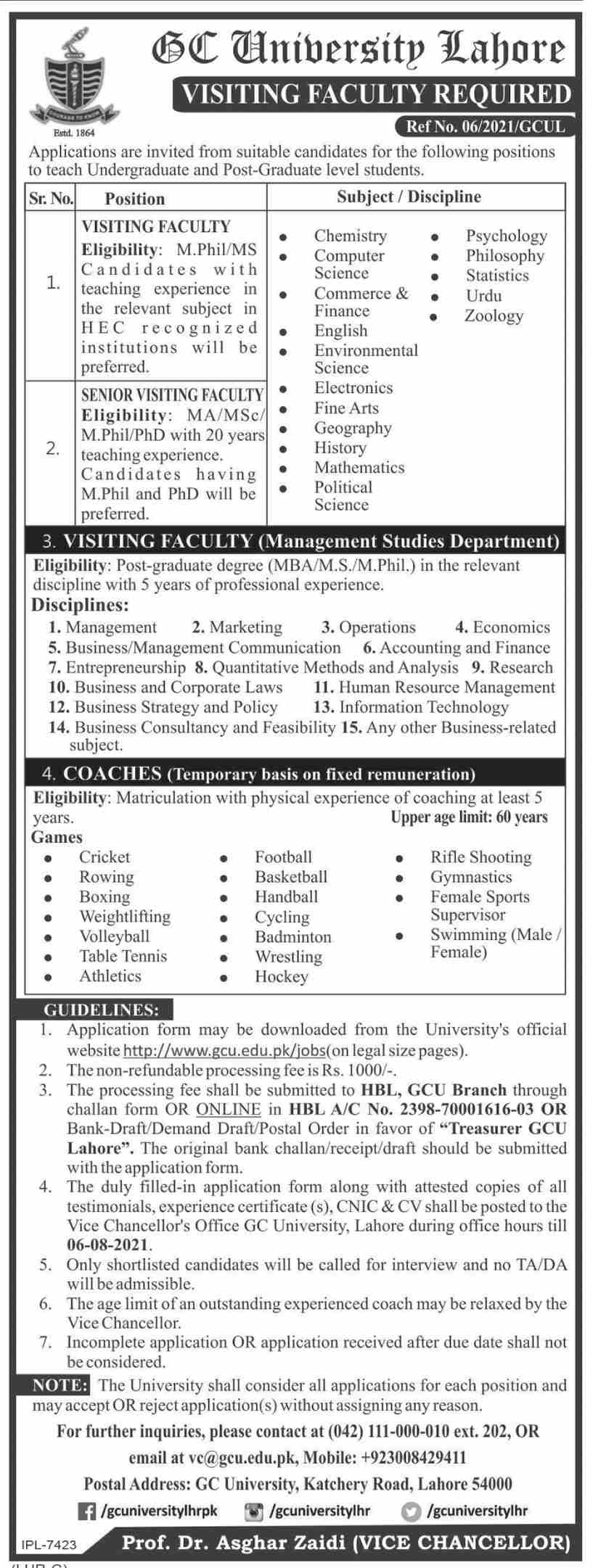 Government College University GCU Lahore Visiting Faculty Jobs 2021 Advertisement: