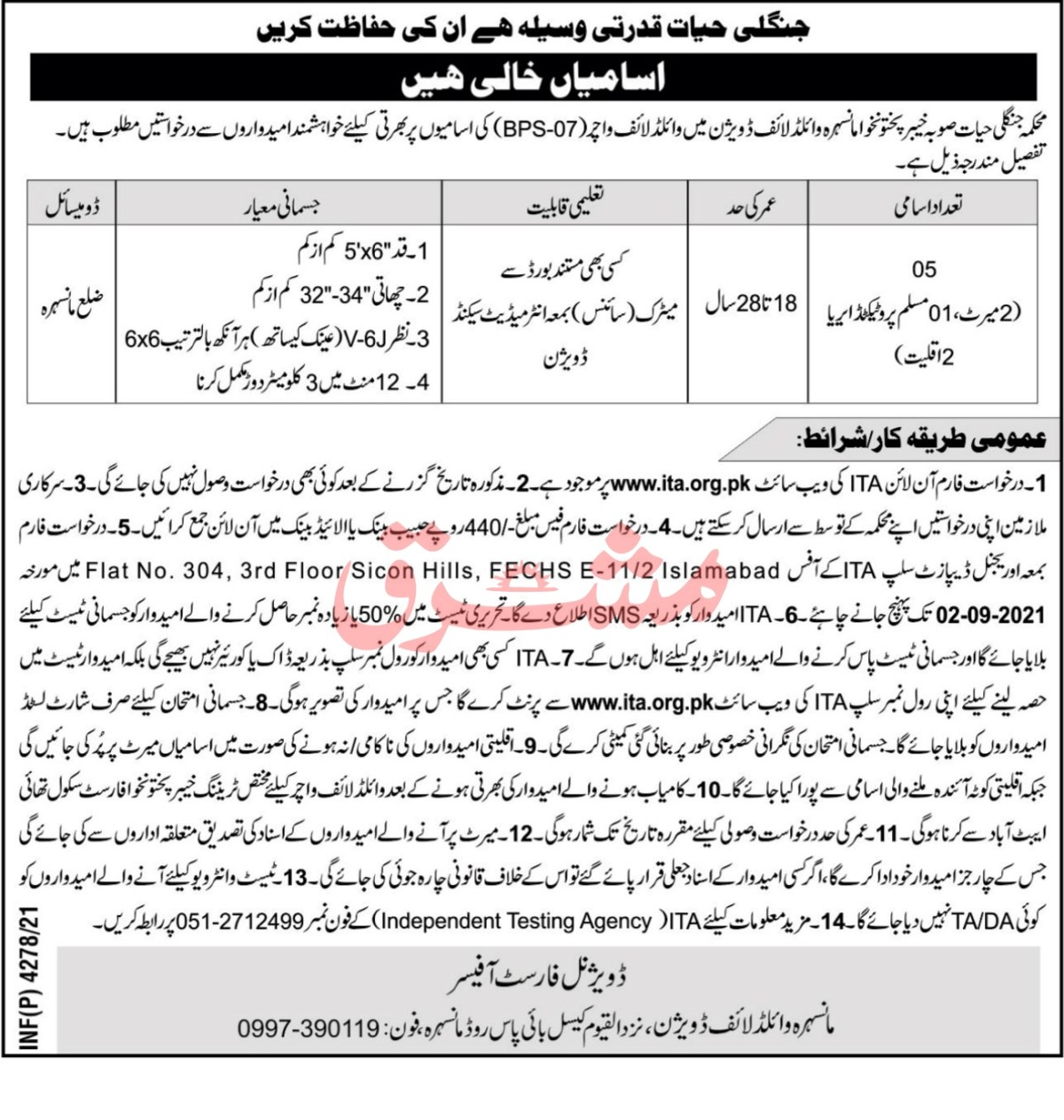 Forest and Wildlife Department KPK Jobs 2021