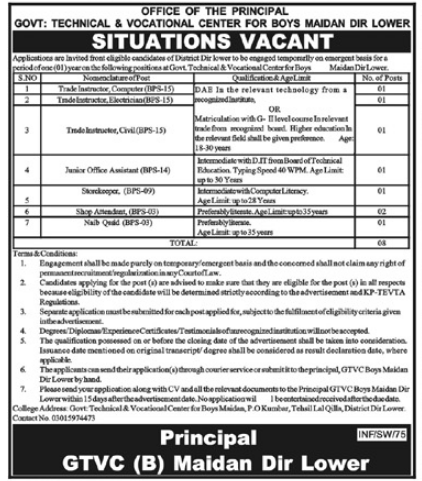 Technical and Vocational Center Jobs 2021