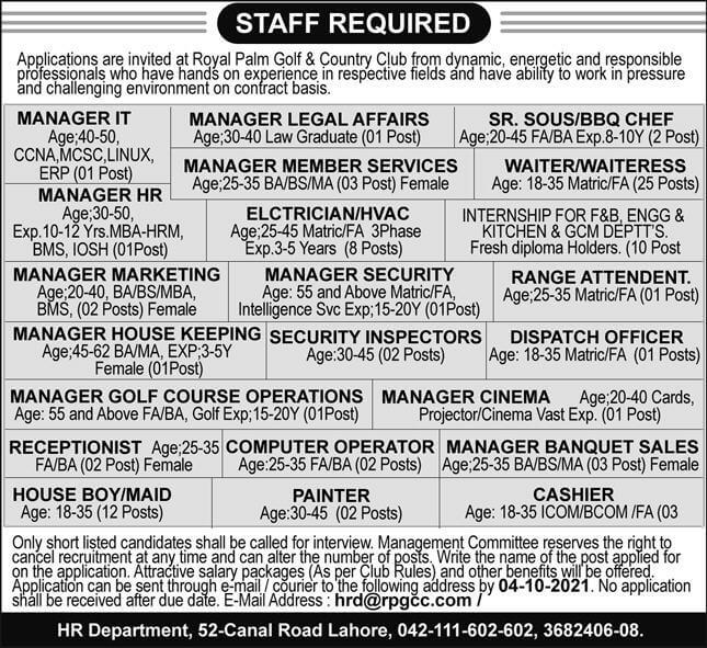 Royal Palm Golf and Country Club Lahore Jobs 2021 Advertisement