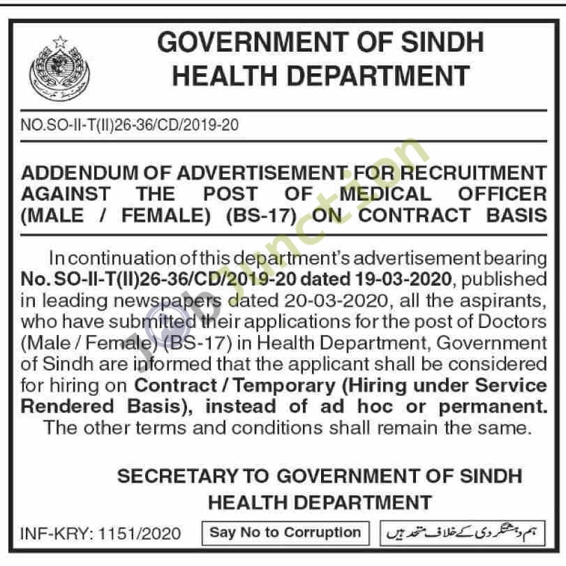 Jobs in Health Department Government of Sindh in Karachi ...