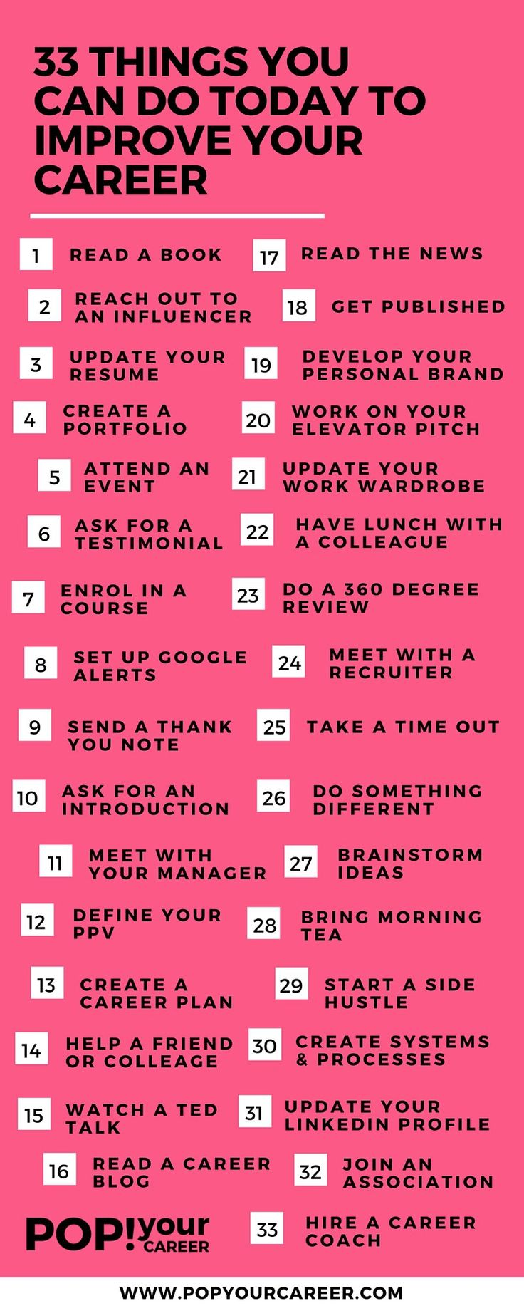 Career Infographic 33 Things You Can Do Today To Improve