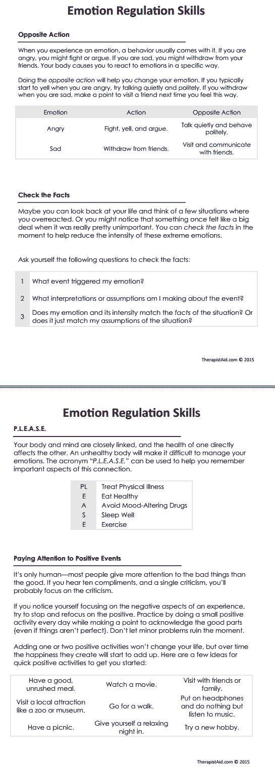 Psychology  DBT Emotion Regulation Skills Worksheet ...