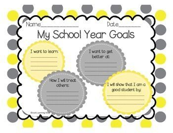Stress Management Back To School Goals Worksheet