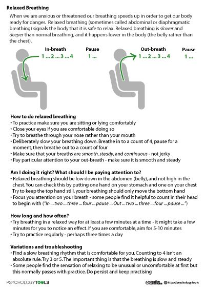 Stress management : Relaxed Breathing | Psychology Tools ...