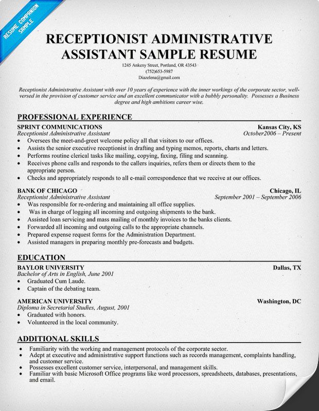 infographic sle resume receptionist administrative