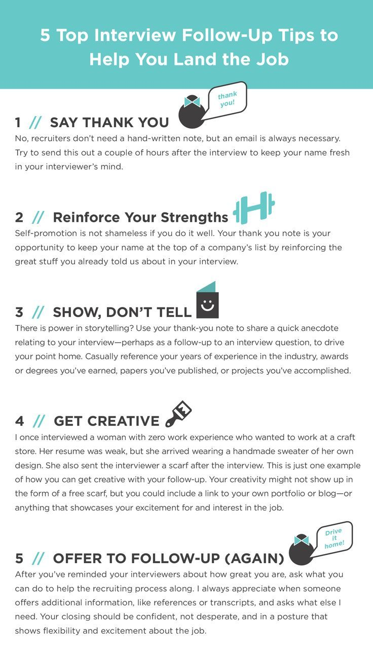 Career Infographic 5 Top Interview Follow Up Tips To Help You Land
