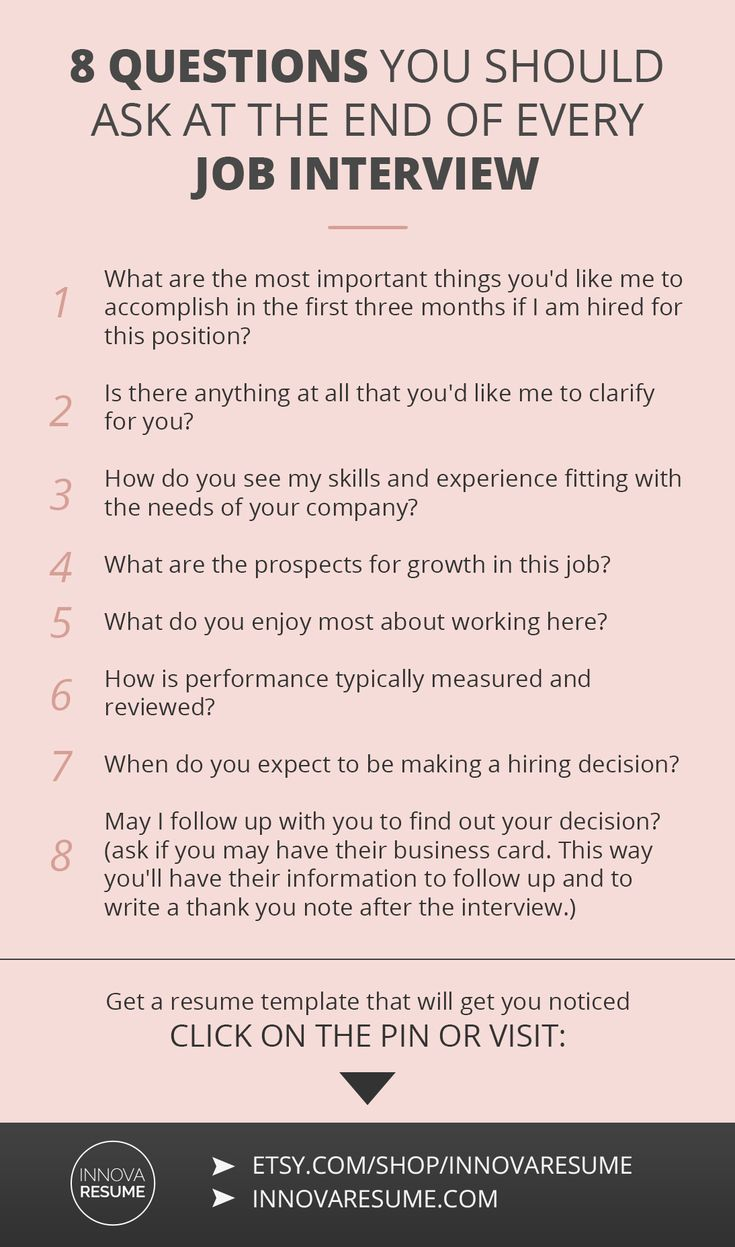 Career infographic : Questions you should ask at the end of every ...