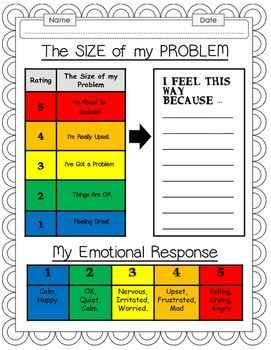 stress management how big is my problem worksheet bundle