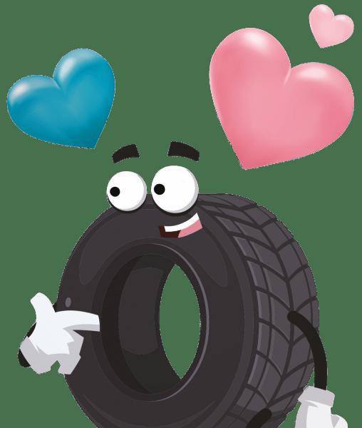 Mascotte de la campagne adopte un pneu du Syndicat des professionnels du pneu