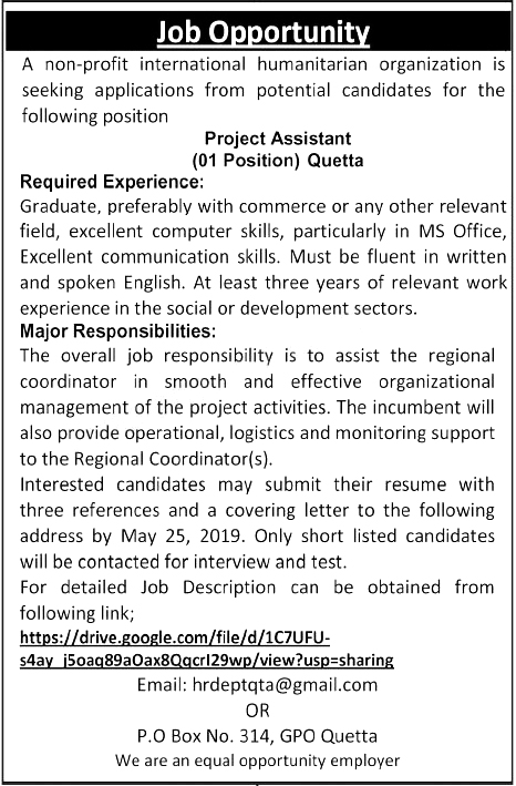 Project Assistant Required In Quetta 18 May 2019