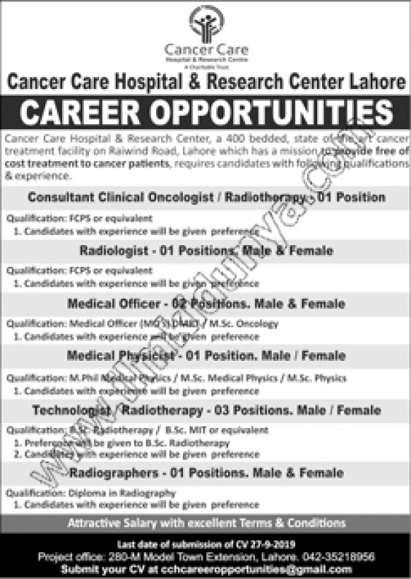 Jobs In Cancer Care Hospital And Research Centre 09 Sep 2019