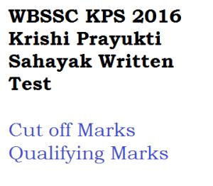 wbssc kps cut off marks qualifying 2016 written test exam held on 18-12-2016 krishi prayukti sahayak