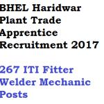 BHEL Haridwar Trade Apprentice Recruitment 2018 ITI 267 Posts