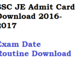 SSC JE Admit Card 2017-18 Download Junior Engineer Exam Date