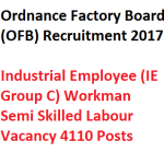 OFB Semi Skilled Labour Recruitment Group C 2018 Vacancy 4110 Posts