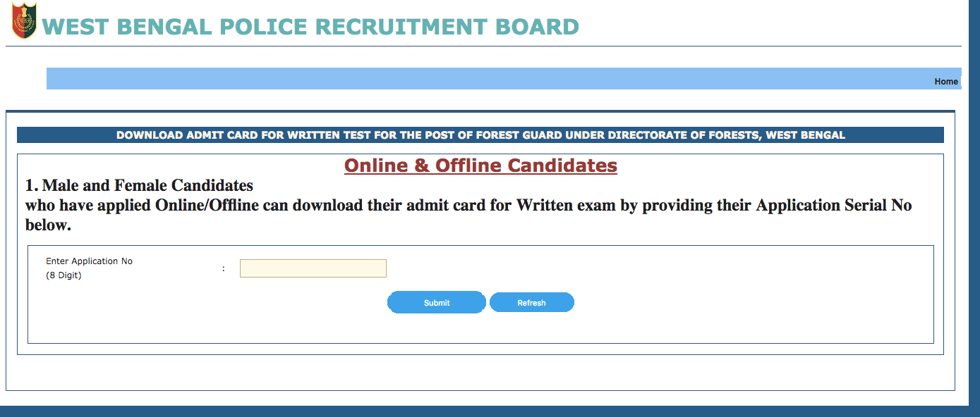 WB Forest Guard Admit Card 2018 Download Exam Date Written Test on business card form, time card form, insurance card form, planning form, bin card form, job card size, employment application form, name card form,