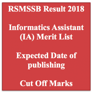 rsmssb informatics assistant result 2018 merit list expected cut off marks publishing date merit list ia result rajasthan.rsmssb.gov.in