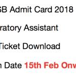 JKSSB Laboratory Assistant Admit Card 2017 Exam Date Download 2018
