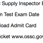 OSSC Supply Inspector Exam Date Admit Card 2018 Odisha Download