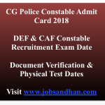 CG Police Constable Admit Card 2018 PET PST Exam Date Verification Call Letter