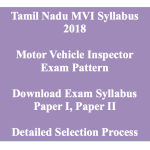 TNPSC MVI Syllabus 2018 Motor Vehicle Inspector Exam Pattern Download