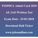 TSSPDCL AE Admit Card 2018 JAO Assistant Engineer Hall Ticket