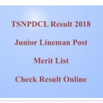 TSNPDCL Junior Lineman Result 2018 JLM Cut Off Marks Merit List