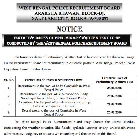 wb police sub inspector exam date released for si posts and lsi 2018