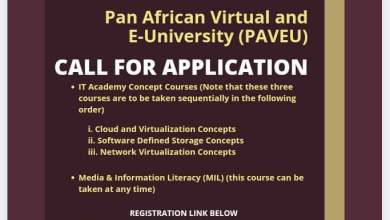 Photo of Pan African University Call for Applications for study programs at the Pan African Virtual and E-University (PAVEU)