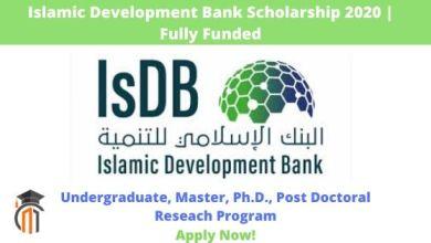 Photo of Islamic Development Bank (IsDB) Undergraduate, Masters & PhD Scholarship Programme 2020/2021 (Fully Funded)