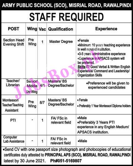 Army Public Schools & Colleges Rawalpindi Jobs 2021 – APS Recruitment