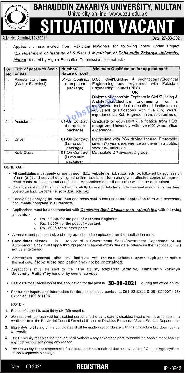Bahauddin Zakariya University BZU Multan Jobs 2021 - Jobs.bzu.edu.pk