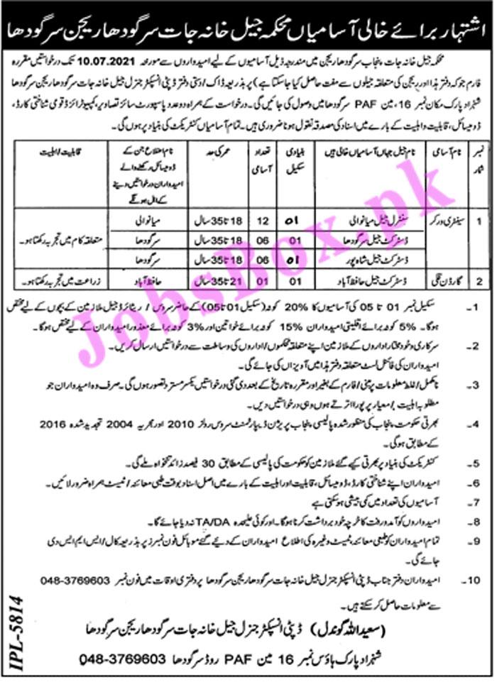 Jail Khana Jat Sargodha Region Jobs 2021