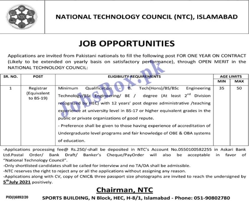 National Technology Council NTC Jobs 2021 Islamabad
