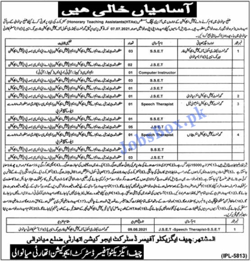 Special Education Department Mianwali Jobs 2021