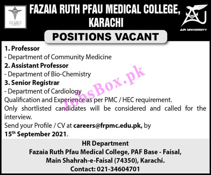 Fazaia Ruth PFAU Medical College Karachi Jobs 2021 Latest