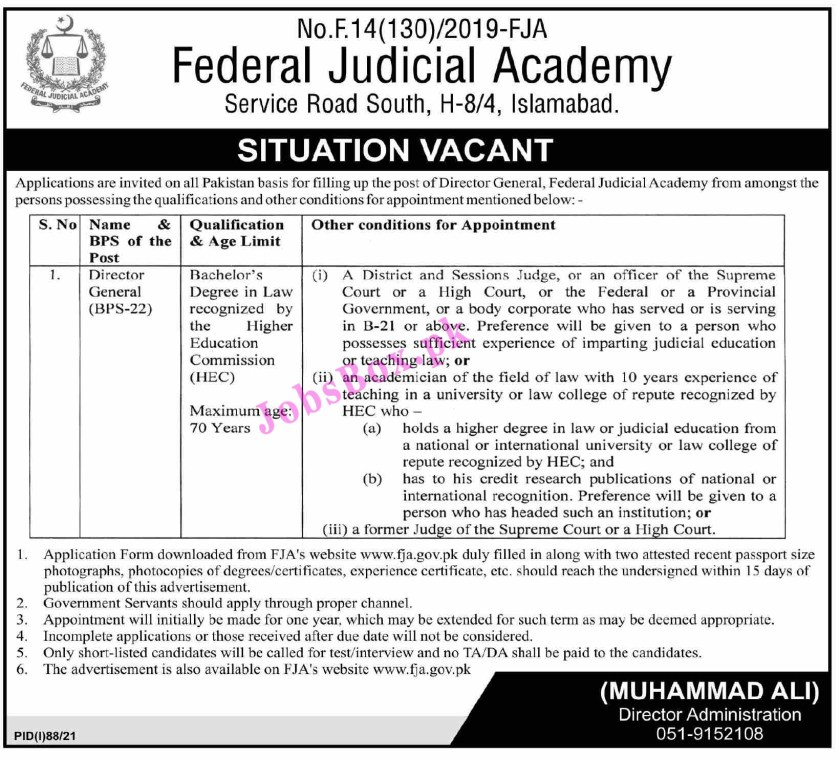 Federal Judicial Academy FJA Jobs 2021 - Application Form via www.fja.gov.pk