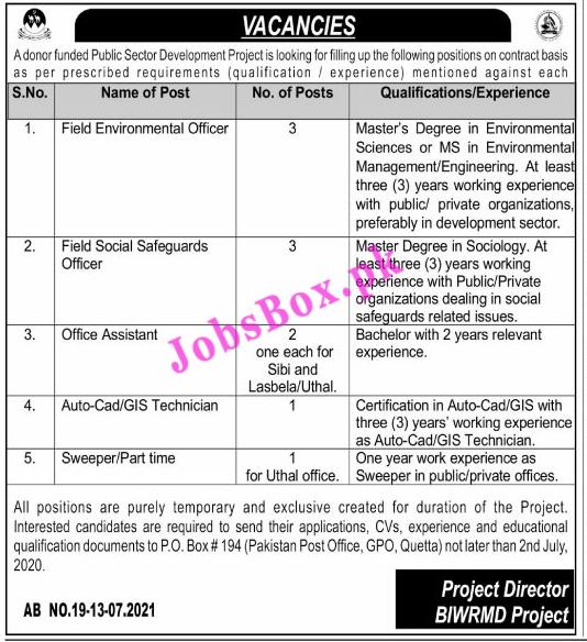 PO Box 194 Quetta Jobs 2021 - Public Sector Development Project