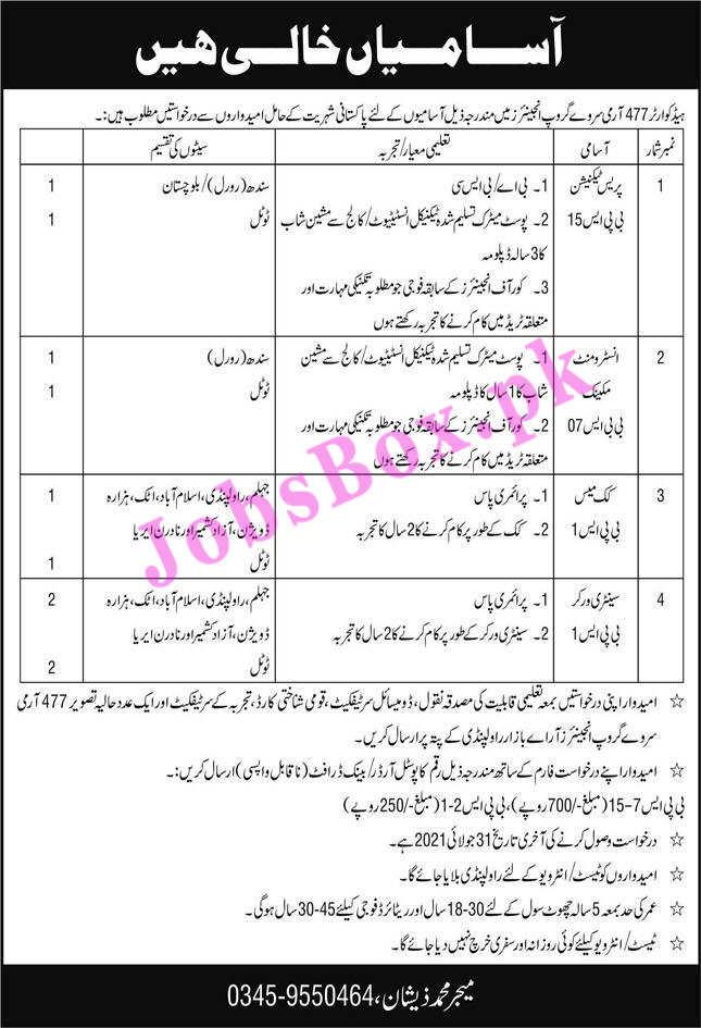 Pak Army Jobs in 477 Army Survey Group
