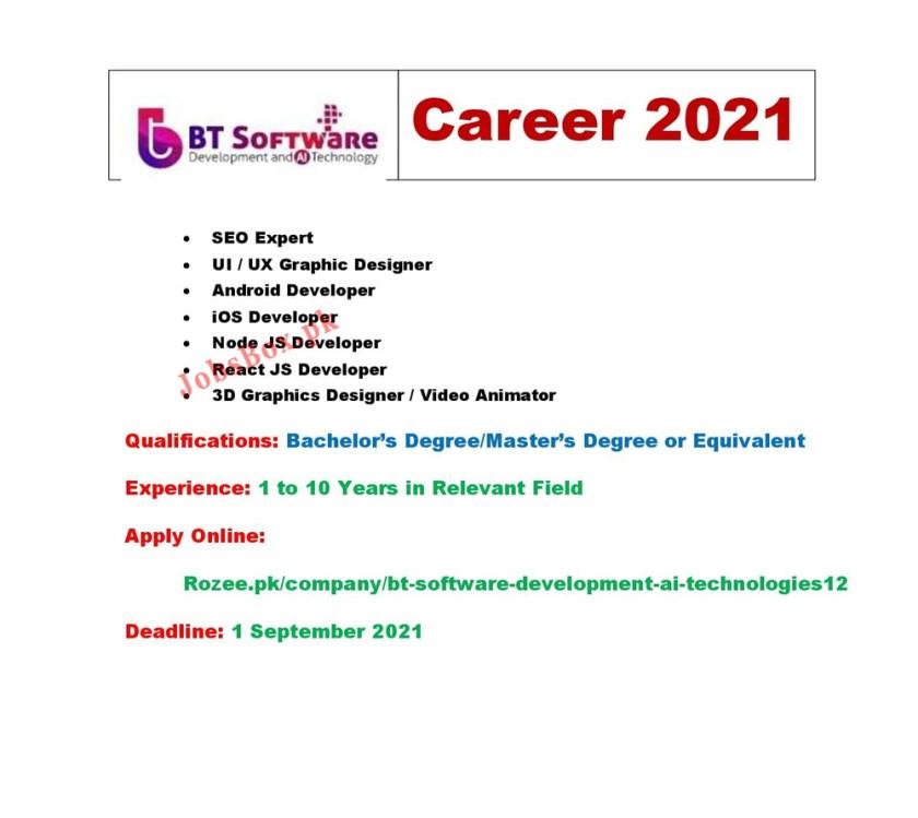 BT Software Development & AI Technologies Jobs 2021 - IT Sector Jobs