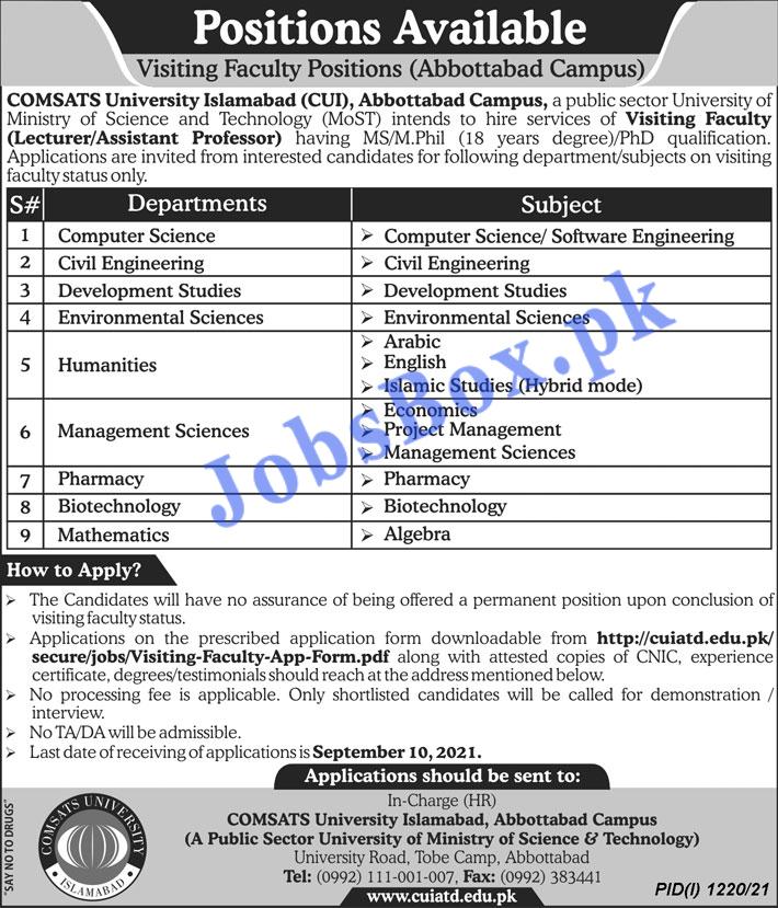 COMSATS University Islamabad CUI Abbottabad Campus Jobs 2021