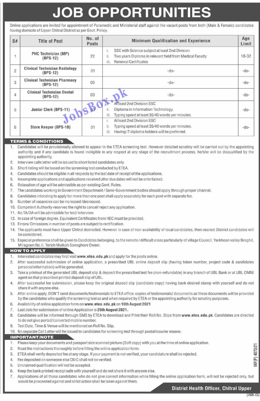 Health Department Upper Chitral Jobs 2021