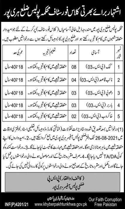 KPK Police Haripur Jobs 2021 - Class IV Recruitment