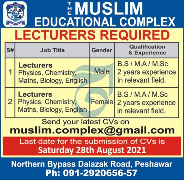 Muslim Educational Complex Peshawar Jobs 2021